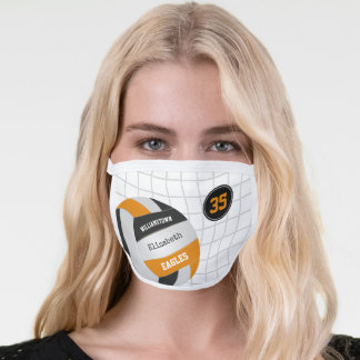 black orange school team colors girls volleyball face mask