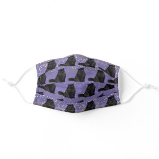 Black Persian Cat with Stars Adult Cloth Face Mask
