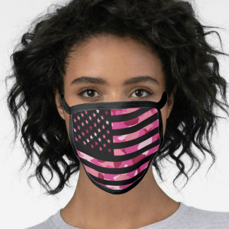 Black Pink Camo American USA Flag Camouflage Face Mask