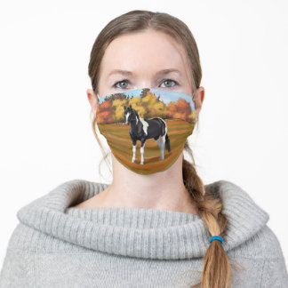Black Pinto Paint Horse In Autumn Pasture Adult Cloth Face Mask