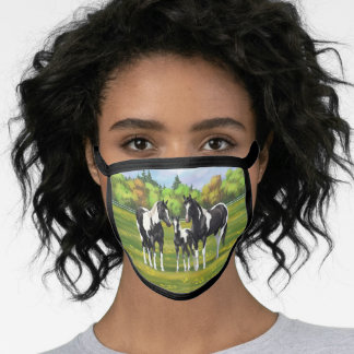 Black Pinto Paint Quarter Horses In Summer Pasture Face Mask