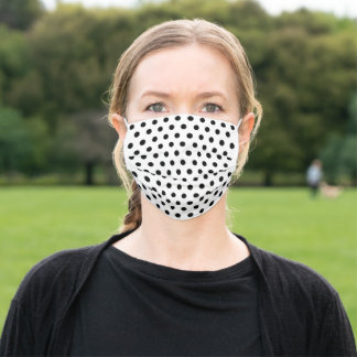 Black Polka Dots on White Bkgd Adult Cloth Face Mask