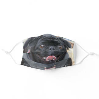 Black pug dog face mask cover