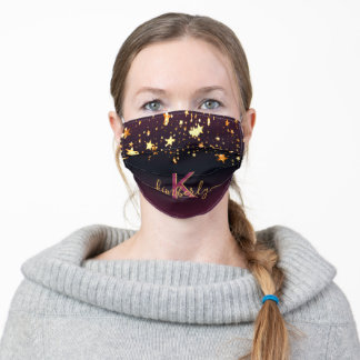 Black purple shiny stars gold monogram adult cloth face mask