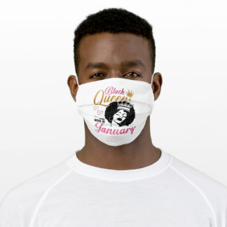 Black Queens are born in January Adult Cloth Face Mask