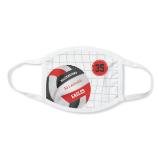 black red school team colors girls volleyball face mask