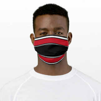 Black, Red, Silver and White Sports Stripe Adult Cloth Face Mask
