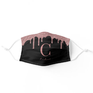 Black Rose Gold Dripping Glitter Monogram Adult Cloth Face Mask