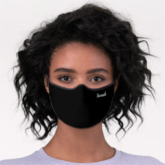Black Simple Custom Name Monogram Premium Face Mask