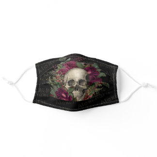 Black Skull Floral Skeleton Name Goth Punk Rock Adult Cloth Face Mask