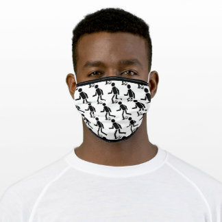 black soccer player with ball pattern, gray border adult cloth face mask