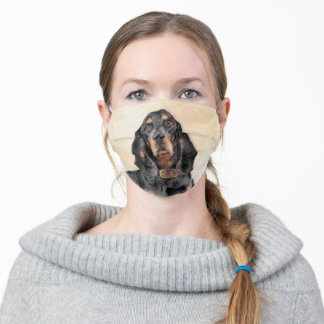 Black & Tan Coonhound Painting - Original Dog Art Adult Cloth Face Mask