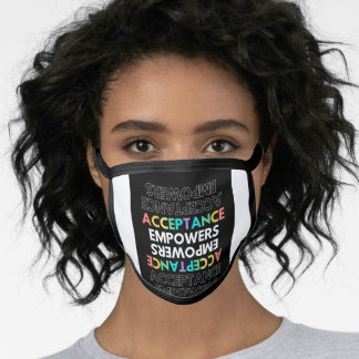 Black Upside Down Text Typographic Diversity Face Mask