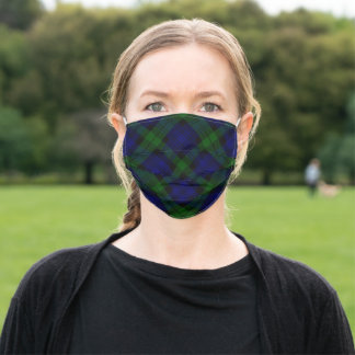Black Watch Tartan Blue Green Plaid Adult Cloth Face Mask