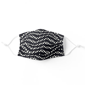 Black White Abstract Patterns Stripes Checkerboard Adult Cloth Face Mask