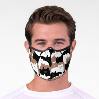 Black White and Brown Kitty Cats Premium Face Mask