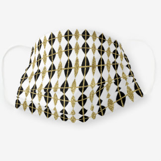Black, White and Gold Harlequin Pattern Cloth Face Mask