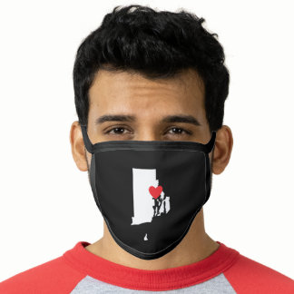 Black White and Red Heart Rhode Island Love Face Mask