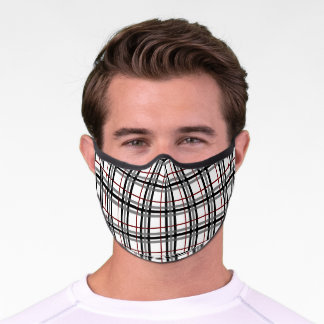 Black White and Red Plaid Premium Face Mask