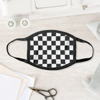 Black White Checkerboard Pattern Face Mask