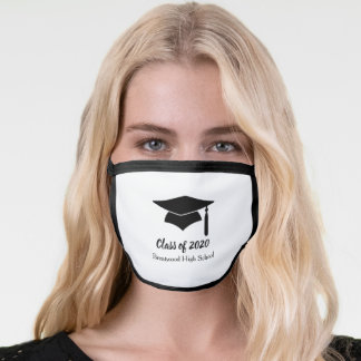 Black & White Customizable Graduation Face Mask