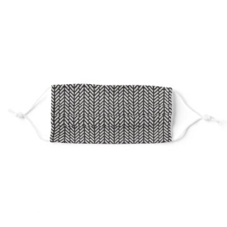 Black & white geometric herringbone pattern adult cloth face mask