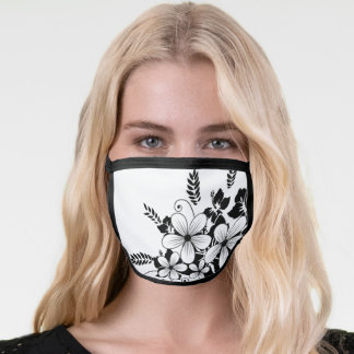 Black White Gray Vector Abstract Floral Face Mask
