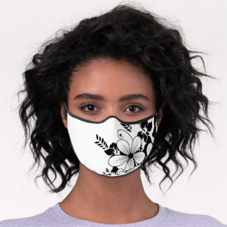 Black White Gray Vector Abstract Womens Premium Face Mask