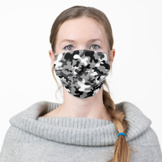 Black, white, grey camouflage pattern adult cloth face mask
