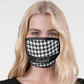 Black White Houndstooth Pattern Script Name Face Mask