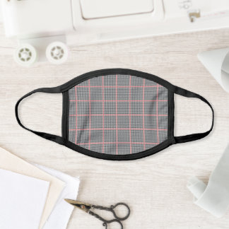 Black White Plaid Houndstooth Pattern Face Mask