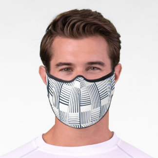 Black white Plaid Pattern  Premium Face Mask