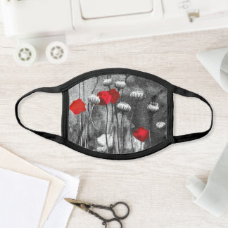 Black White Red Poppies Flower Art Template Floral Face Mask