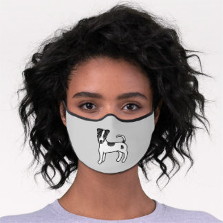 Black & White Smooth Coat Parson Russell Terrier Premium Face Mask