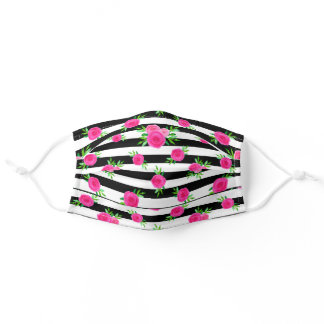 Black White Stripes Pink Watercolor Floral Pattern Adult Cloth Face Mask
