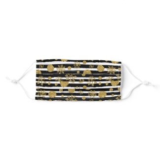 Black & White Stripes with Glitter Gold Snowflakes Adult Cloth Face Mask