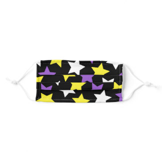 Black White Yellow Purple Stars Nonbinary Pride Adult Cloth Face Mask