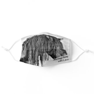 Black Wild Mustang Living Wild & Free Adult Cloth Face Mask