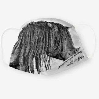 Black Wild Mustang Living Wild & Free Cloth Face Mask