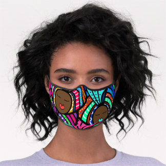 Black Woman, Colorful Turbans Premium Face Mask