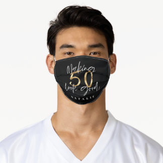 blacka nd gold moder script 50th birthday adult cloth face mask