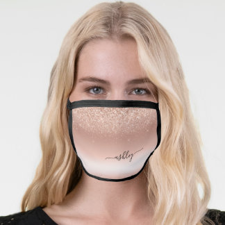 Bling Rose Gold Blush Pink Ombre Monogram Face Mask