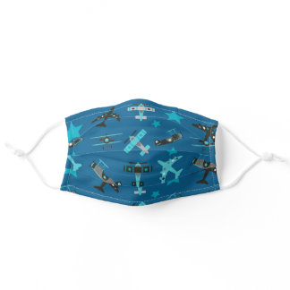Blue Airplanes and Stars Pattern Adult Cloth Face Mask