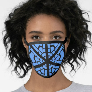 BLUE AND BLACK ABSTRACT FACE MASK