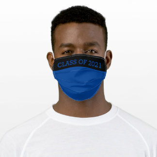 Blue and Black Class of 2021 Graduate Adult Cloth Face Mask