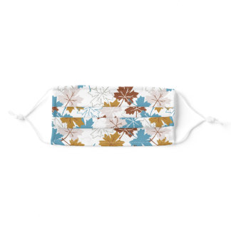 Blue And Brown Failing Leaves Autumn Pattern Adult Cloth Face Mask