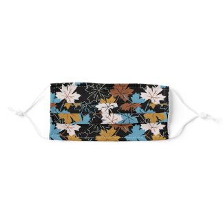Blue And Brown Failing Leaves Autumn Pattern B Adult Cloth Face Mask