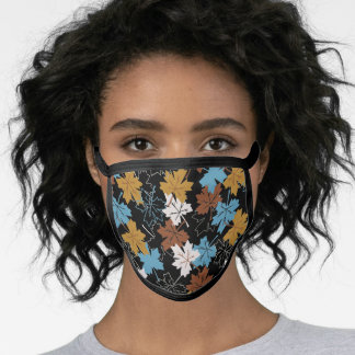 Blue And Brown Failing Leaves Autumn Pattern B Face Mask