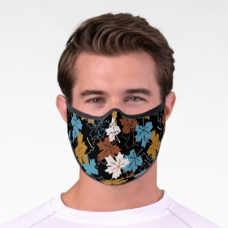 Blue And Brown Failing Leaves Autumn Pattern B Premium Face Mask