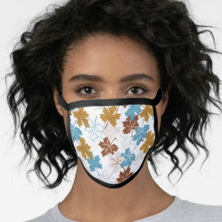 Blue And Brown Failing Leaves Autumn Pattern Face Mask